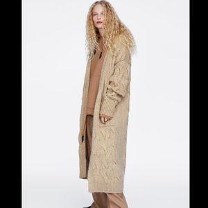 NWT Zara Long Knit Beige Cardigan Sweater L